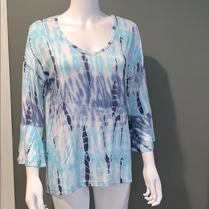 Onque Womans Blue Tye-Dye Top SZ.S